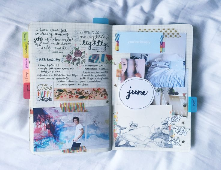 "studyrose: ""my june spread – going for lots of blues, calming tones. also, that photo of harry is one of my favorites ever ✨ """
