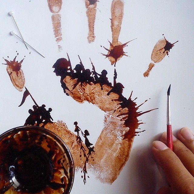Ten artysta tworzy romantyczne kompozycje malowane kawą na liściach.