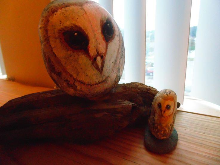 Large rock owl on drift wood/ desk ornament.