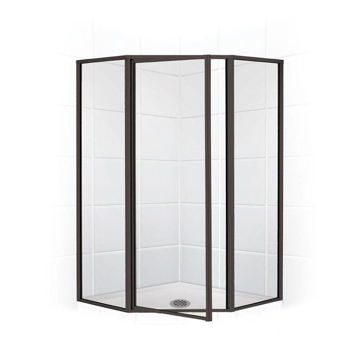 Coastal Shower Doors Legend Series 59 in. x 70 in. Framed Neo-Angle Swing Shower Door in Oil Rubbed Bronze and Clear Glass
