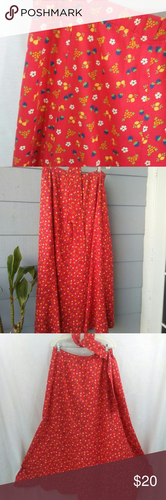 "Vintage 70s skirt Sweet vintage skirt. Colors are vibrant red-orange background with lemons, berries and flowers. Wear with sandals or boots. Great skirt to wear to a farmers market or a outdoor summer event. 100% cotton. Measurements: 35"" waist. (Elastic band can be left as is or replaced to fit desired fit). Length 41"", wide skirt for dramatic flow. Perfect with a simple t shirt. Vintage Skirts A-Line or Full"
