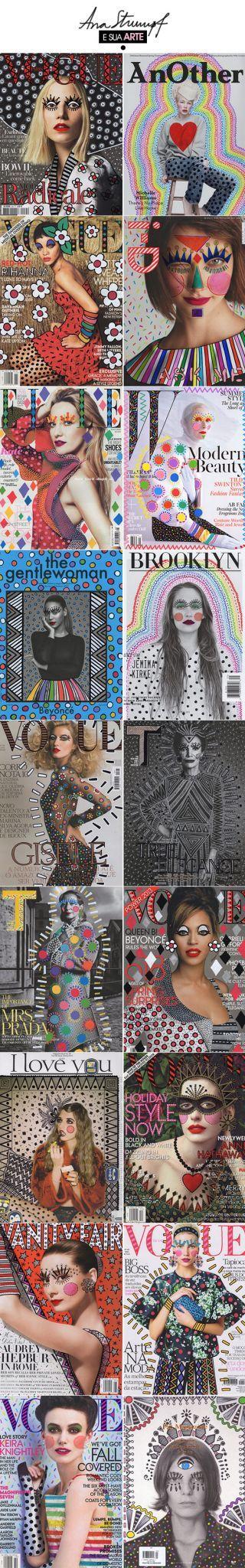 E essas capas de revistas by Ana Strumpf? Fazem parte do projeto Re.Cover - intervenções ilustradas com o uso de canetas sharpie e DecoColor. Cada capa é única!