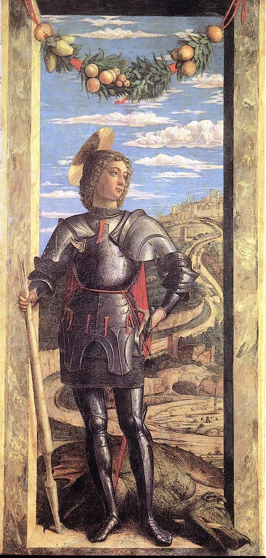 ***Andrea Mantegna, San Jorge, h.1460. Venecia, Academia. Atributos: coraza romana o armadura medieval, a pie o montado a caballo (blanco), espada desenvainada lanza partida, bandera blanca con una cruz roja y dragón.