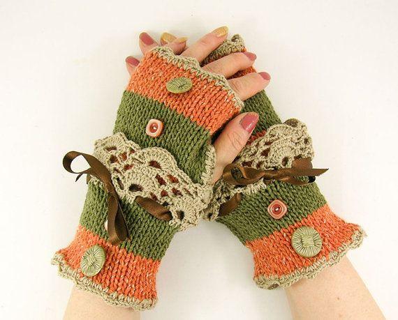 Calentadores de guantes sin dedos del brazo del knit fingerless mitones de encaje mujeres oliva tweed verde y naranja romántica victoriana