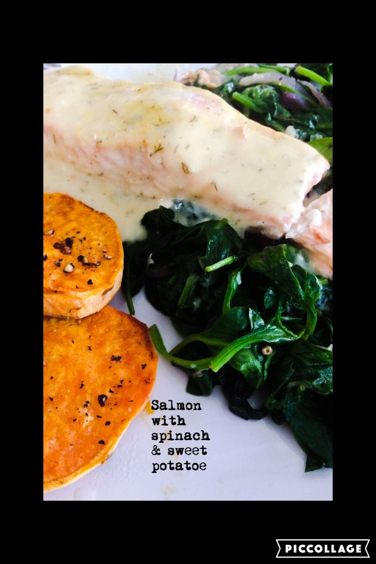 Salmon with dille sauce spinach and toastjes sweet potatoe