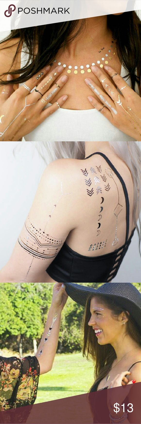 Celestial Alignment Metallic Tattoo Stellar Symbols, Arrows to Point the Way. GOLD, SILVER, BLACK & BLUE; Moons, Spheres, Arrow Marks & Arrows, Prisms, Dotted & Solid Lines. Create Your Own Tat Design for Face, Arms, Torso , Feet, etc. KITSCH Makeup