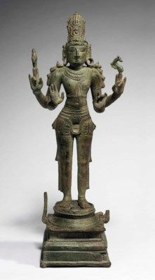 A BRONZE FIGURE OF SHIVA AS CHANDRASHEKHARA SOUTH INDIA, TAMIL NADU, CHOLA DYNASTY, 12TH CENTURY 16 1/8 in. (41 cm.) high