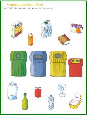 Educ@ naWeb ....Pré-Escolar: Reciclagem - Fichas de trabalho