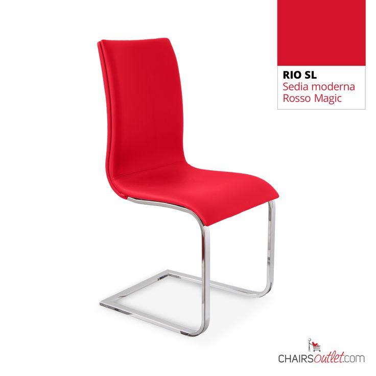 € 139,70 RIO-SL #sedia moderna, base cantilever, in #offerta prezzo scontata del 45% solo su www.chairsoutlet.com  #sedie #rosse #casa #cucina #stile #saldi #offerte #outlet