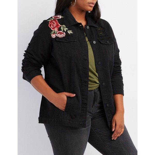 Charlotte Russe Embroidered Destroyed Denim Jacket ($29) ❤ liked on Polyvore featuring plus size women's fashion, plus size clothing, plus size outerwear, plus size jackets, black, plus size denim jacket, embroidered denim jackets, embellished denim jacket, patch jean jacket and oversized denim jacket
