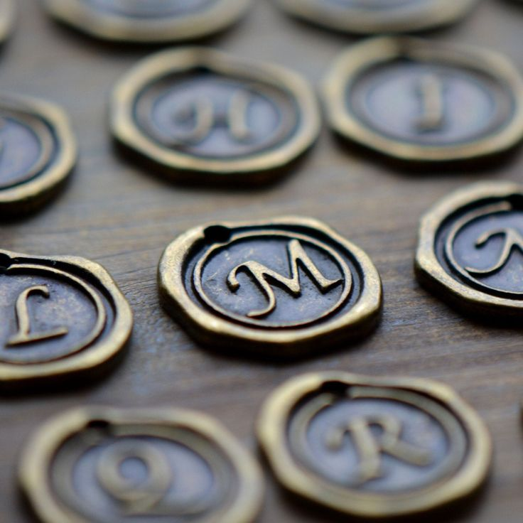 Alphabet wax seal stamp charms initial charm antique