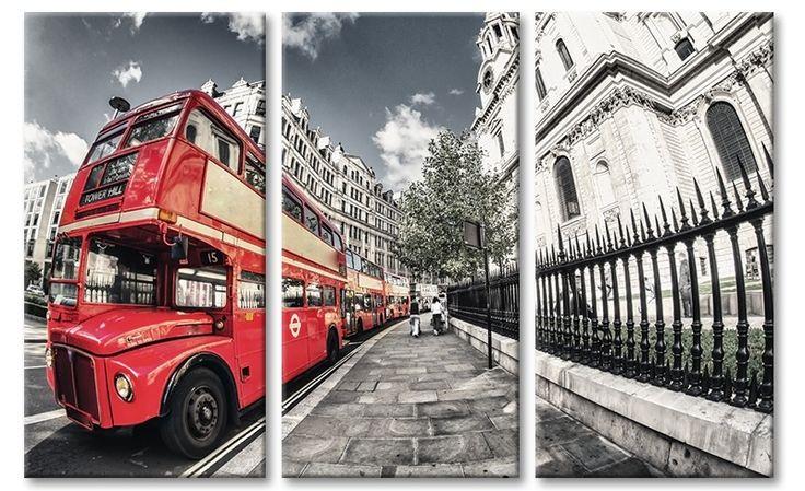 Canvas drieluik schilderij met kleuraccent rode Dubbeldekker Bus Londen