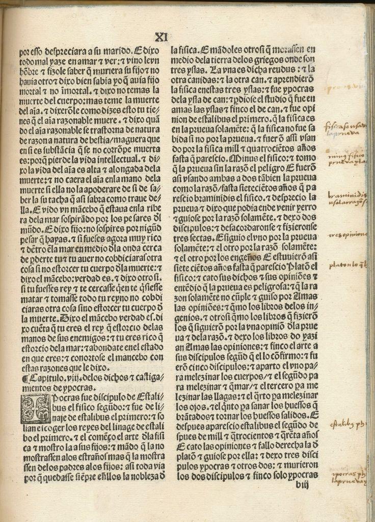 """""""Bocados de Oro"""", publicado en Toledo por Pedro Hagembach en el año 1502. Atribuido al Rey de Persia, en realidad es una versión de un texto árabe inspirado a su vez en escritos sapienciales griegos."""