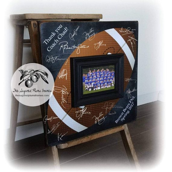"Wow your football coach with our unique guest book! This listing is for a custom 16""x16"" square wooden plaque for players to sign instead of a traditional guest book. Your coach can then hang it on their wall as a beautiful keepsake from their great season with their players!  Need a different sport? Baseball, Basketball, Soccer, Volleyball? Not a problem! Let us know what you need and we can make it happen."
