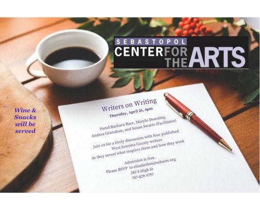 Join a lively discussion about what inspires writers and how they work with #TheBalletLover author Barbara L. Baer and three other West Sonoma County writers during Writers on Writing, Thurs., April 26, 4 pm at .@SebastopolArts. Free admission. Wine and snacks will be served.
