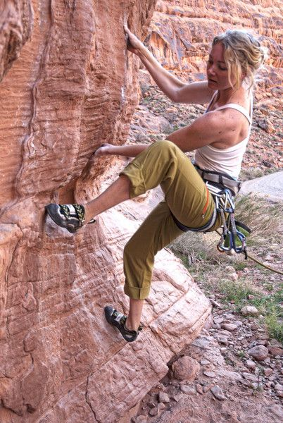 Lightweight, quick-drying women's climbing pants by Roscoe Outdoor. $72.00