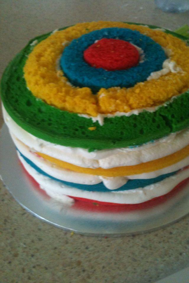 Stack cake in progress