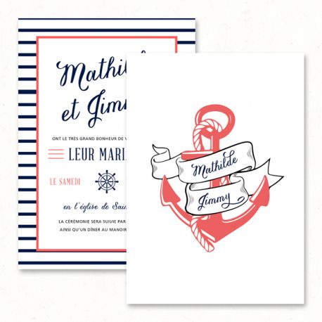 "Wedding invitation - ""Sailor"", navy, anchor, sea, travel - Paper and Love - www.paperandlove.be __ Faire-part, invitation de mariage - ""Sailor"", marin, mer, ancre, voyage - Paper and Love - www.paperandlove.be"