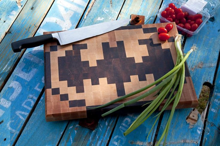 Alfred's end grain chopping board - because no billionaire's mansion is complete without a super chopping board! Made from Walnut, Maple and Beech (28cm x 40cm).