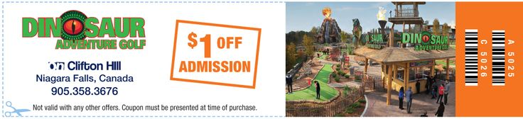 Receive $1.00 off admission (one coupon good for up to 6 people) at Dinosaur Adventure Golf on Clifton Hill in Niagara Falls. #NiagaraFalls #coupons #discounts #travel #tourism #cliftonhill #miniaturegolf
