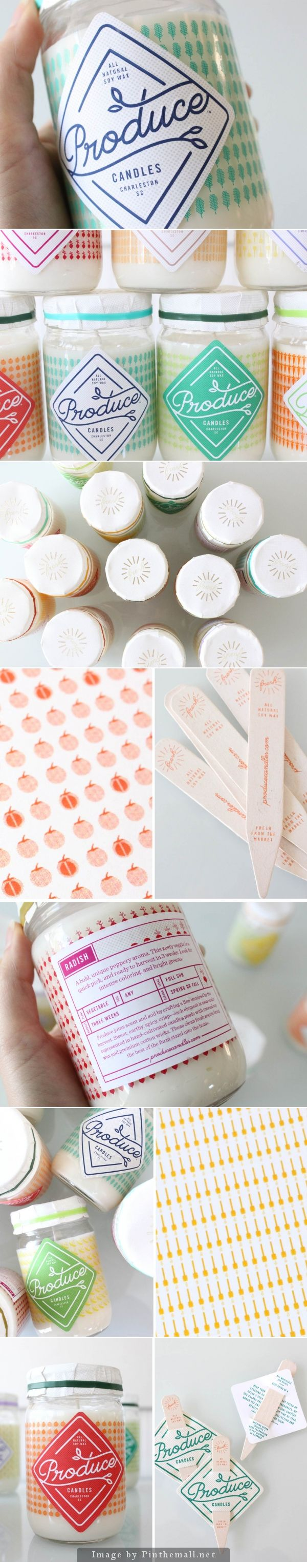 Produce candles designed by Stitch Design Co. #packaging #design