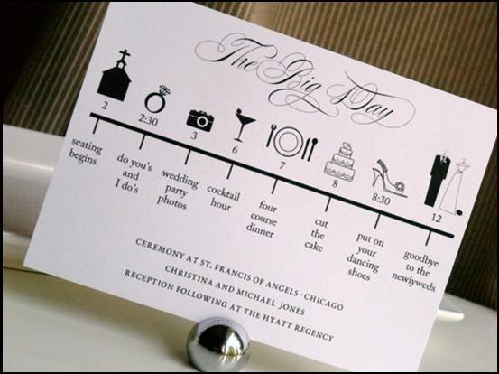 dagindeling los symbolen kaartje    wannabeabride trouwblog 26 nov 2011