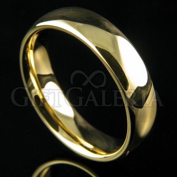 Aliança de casamento em tungstênio ouro Gaya com espessura de 6mm, formato clássico e lindo desenho minimalista. Esta linda aliança possui interior abobadado (anatômico) e brilho até 5 vezes superior ao da jóia comum de ouro 18K.