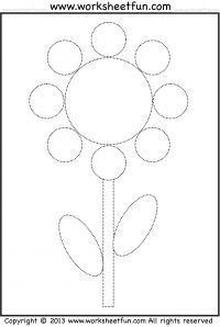 Shape Tracing and Coloring Worksheet – Flower
