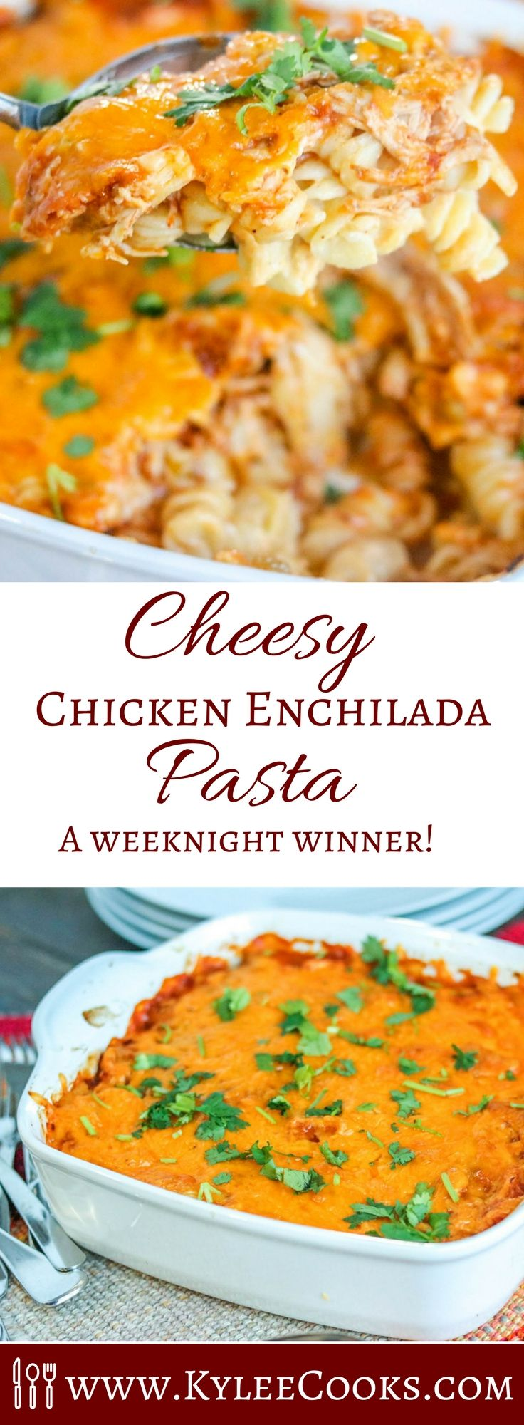 A big bowl of comfort, this Cheesy Chicken Enchilada Pasta will stick to your ribs and have everyone fight over leftovers!  via @kyleecooks