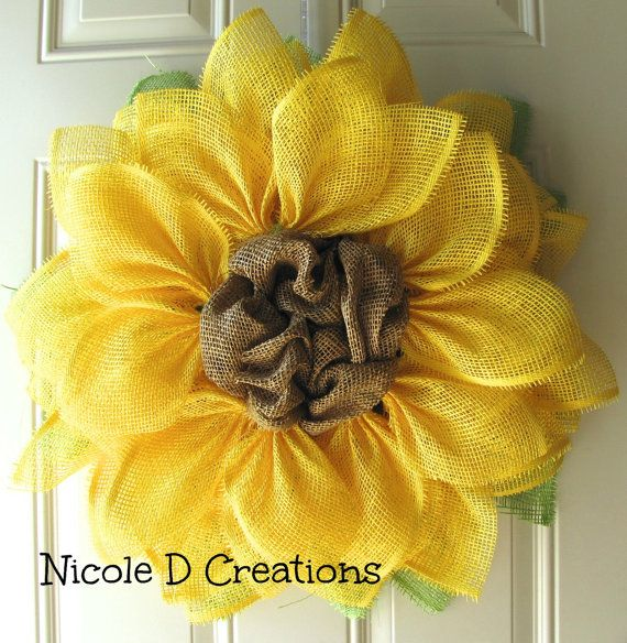 Yellow Sunflower Wreath Summer Wreath Paper by NicoleDCreations
