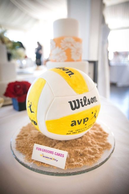 "Volleyball cake! Love the graham cracker ""sand""!"