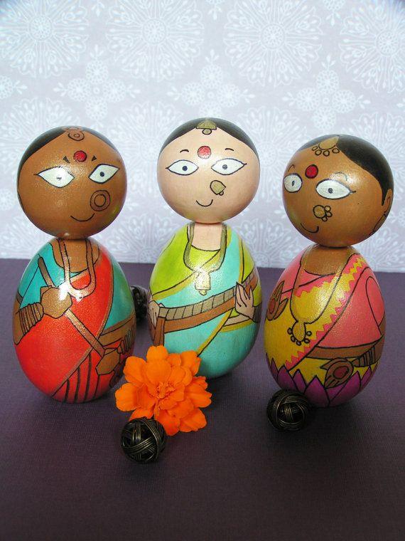Durga Saraswati Lakshmi Devi Set - Hand Painted Wooden Golu Dolls