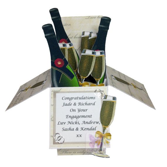Engagement, Congratulations Pop-Up Box Card, Handmade, Personalised - Champagne, Glasses, Celebrate