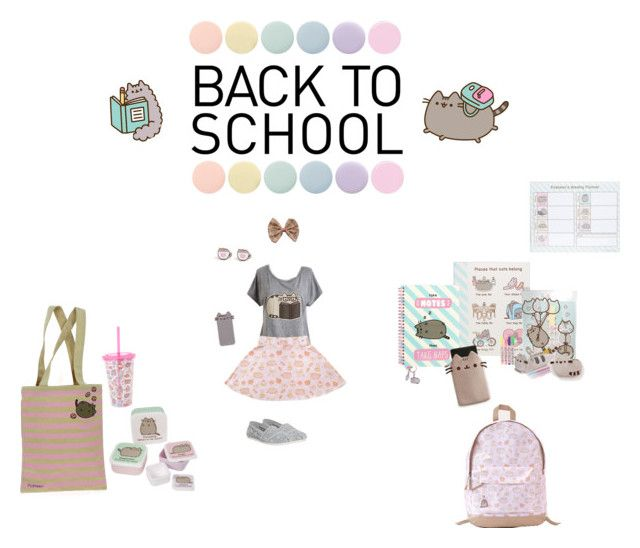 #PVxPusheen by alovitzschool on Polyvore featuring Pusheen, TOMS, Deborah Lippmann, contestentry and PVxPusheen  Everything you would need for school! A Pusheen spring outfit, Pusheen book bag and school supplies. And a tote bag with snack containers and tumbler for lunch.