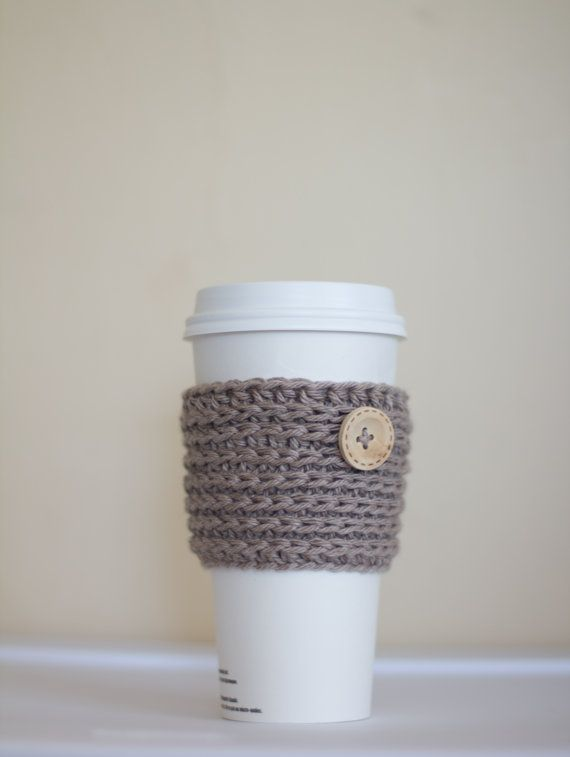 Oatmeal Coffee Cozy with wooden button beige by PreciousLambKnits