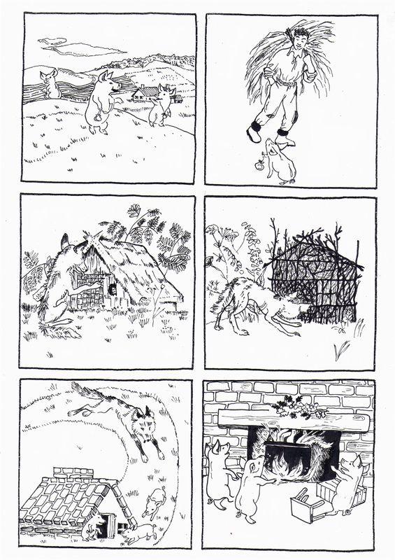 6 images séquentielles de l'album: les trois petits cochons de Paul-François et Gerda, éditions du Père Castor - dis bonjour au soleil