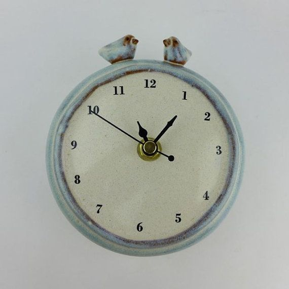 Handmade Ceramic Wall Clock with Two Birds
