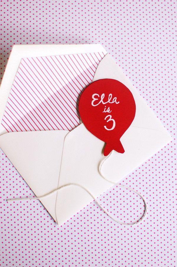 Balloon Birthday party invitations.