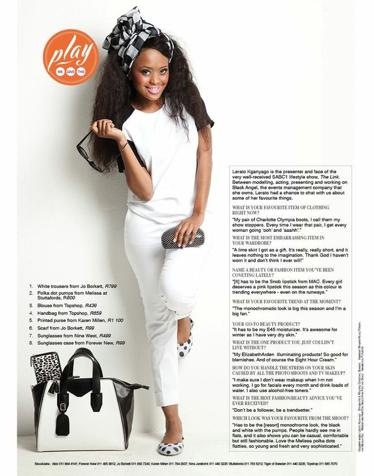 MONOCHROME with Lerato Kganyago Looks like she just stepped onto her personal yacht. Such a cute resort look.
