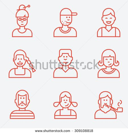 People icons, flat design, thin line style