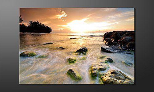 """WandbilderXXL® Gedrucktes Leinwandbild """"Stoned Sunset"""" 120x80cm - in 6 verschiedenen Größen. Fertig gespannt auf Holzkeilrahmen. Günstige Leinwanddrucke für Kinderzimmer Schlafzimmer."""