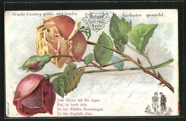 """old postcard: AK Gelbe und rote Rose, Gedicht """"Jede Blume soll Dir sagen, daß ich denke dein"""", Reklamekarte für Multiplex Fahrräder"""