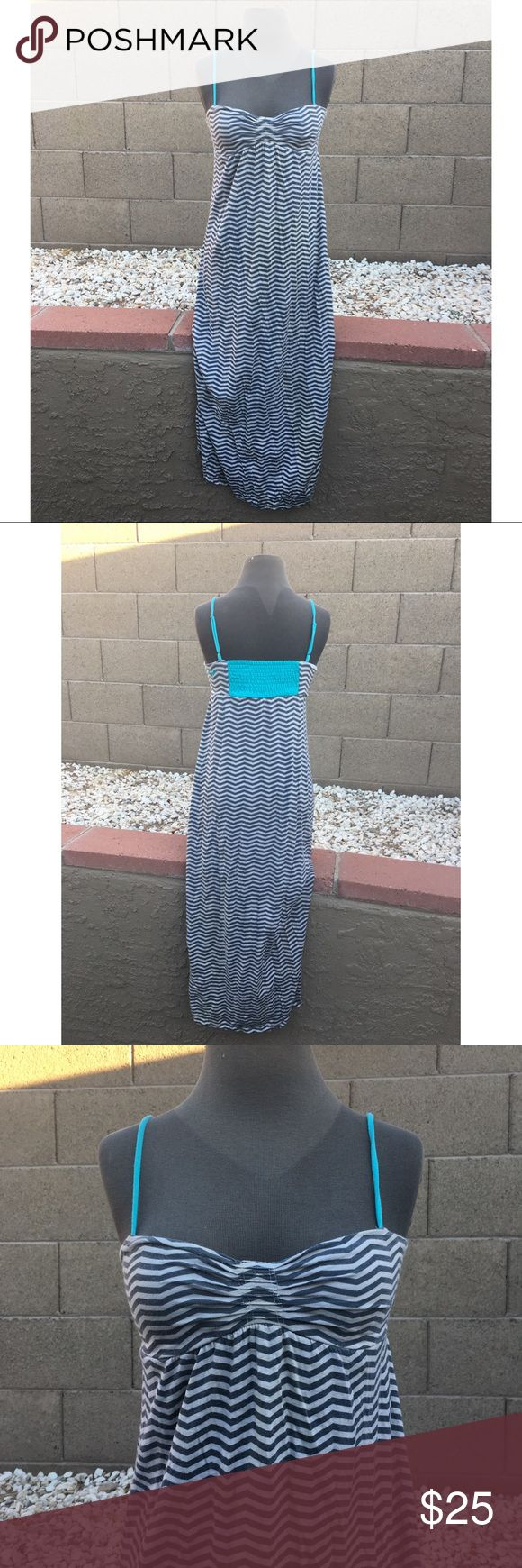 CHEVRON STRIPED Summer Maxi, Adjustable Straps This dress will take you through a whole summer day! Throw on over your bikini with some flip flops and head to the water! Change into some cute sandals and a cardi for an evening out. Super comfortable and versatile, too! What could be better! Elastic rouching in back to accommodate variation in bust/back size. Gently used, excellent condition. Color is gray, white, and turquoise Roxy Dresses Maxi