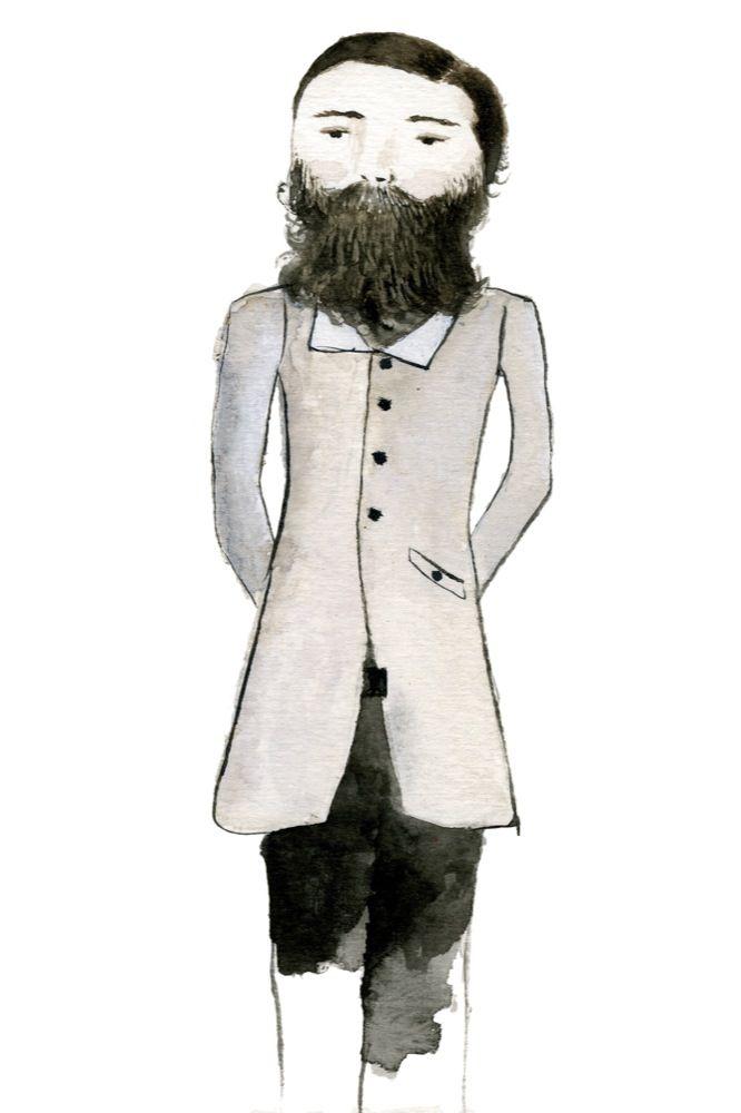 Beardy Man :: Archival print of original watercolour painting by Sarah Millicent Elliott