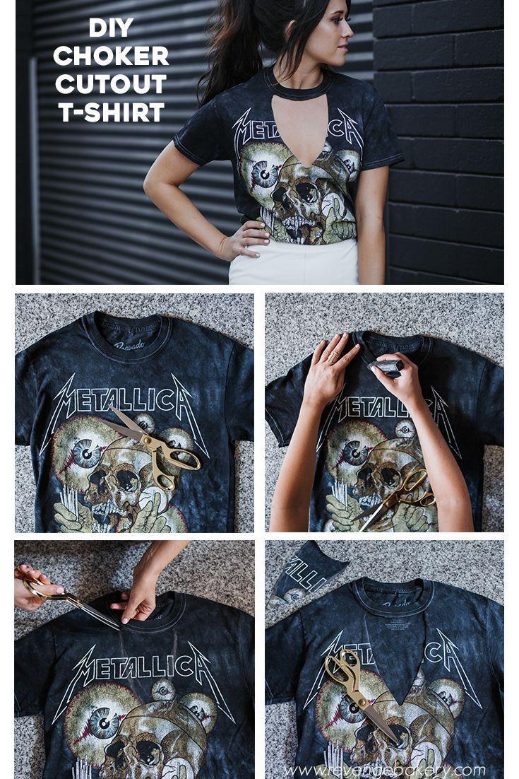 T-shirt com decote gargantilha DIY   – kleidung