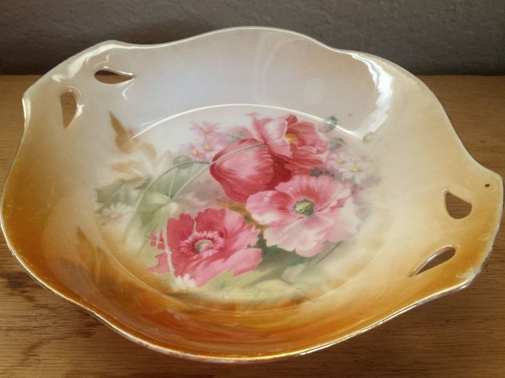Antique RS Prussia Scattered Pansies Porcelain Bowl Dish Luster Satin Finish  #RSPrussia #ArtNouveau