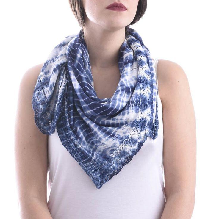 SCARF/PAREO BLUE-WHITE TIE DIE - Scarfs/Sun Dresses
