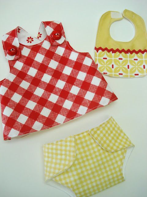 Free sewing patterns for simple dolly dress, diaper, and bib.