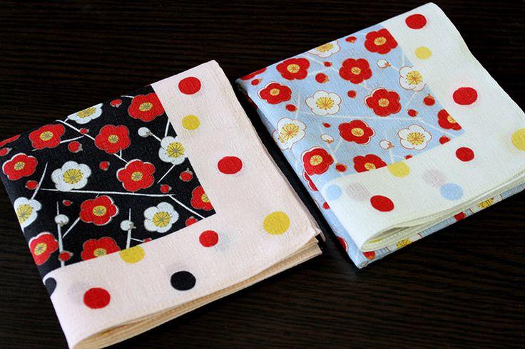 Whlesale quality Japan Super soft thin models ladies vintage handkerchiefs,Red chimonanthus pattern 49cm*49cm pocket square