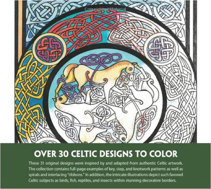Adult Coloring Book Celtic Art Design Stress Relief Pattern Bird Fish Animals